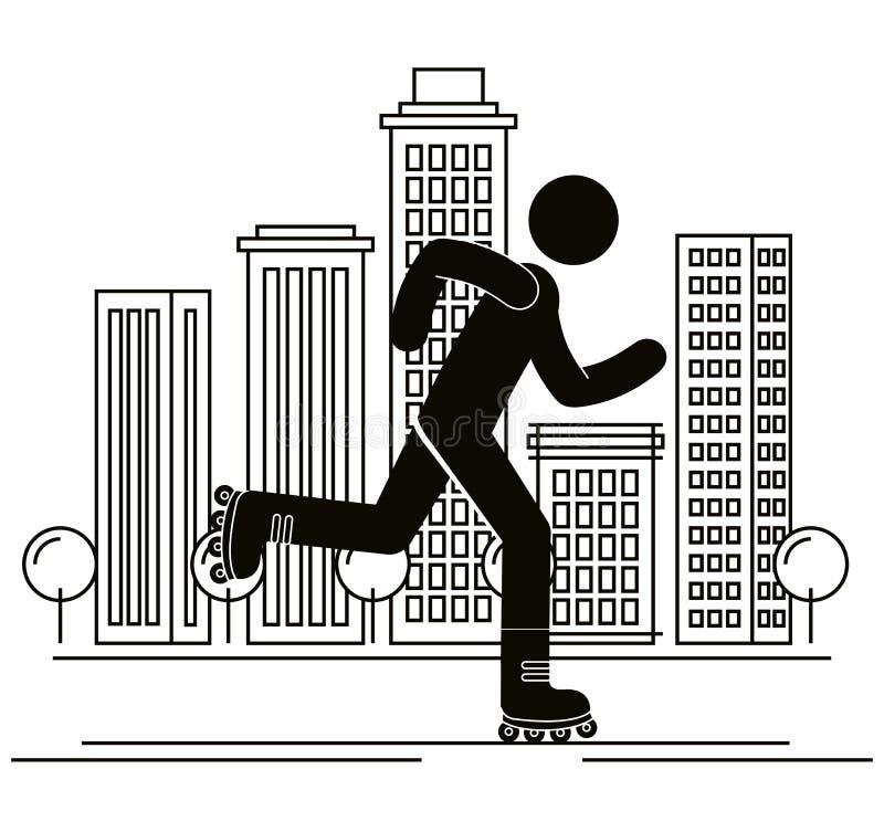 Figura ser humano en avatar de la silueta de los patines ilustración del vector