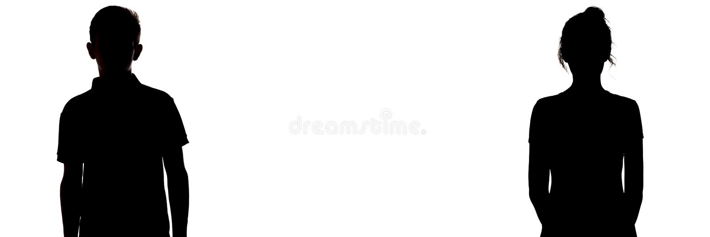 Figura silhueta do menino e de uma menina em um fundo branco, comparação dos gêneros, entendendo mal entre o homem novo e imagem de stock royalty free