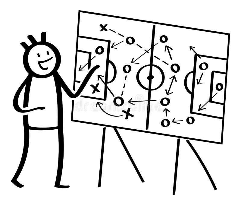 Figura simples da vara que explica as táticas do futebol, apontando na placa do treinador Ilustração preto e branco do vetor ilustração royalty free