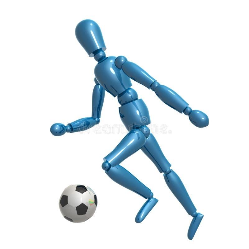 Figura simulada que juega el balón de fútbol libre illustration