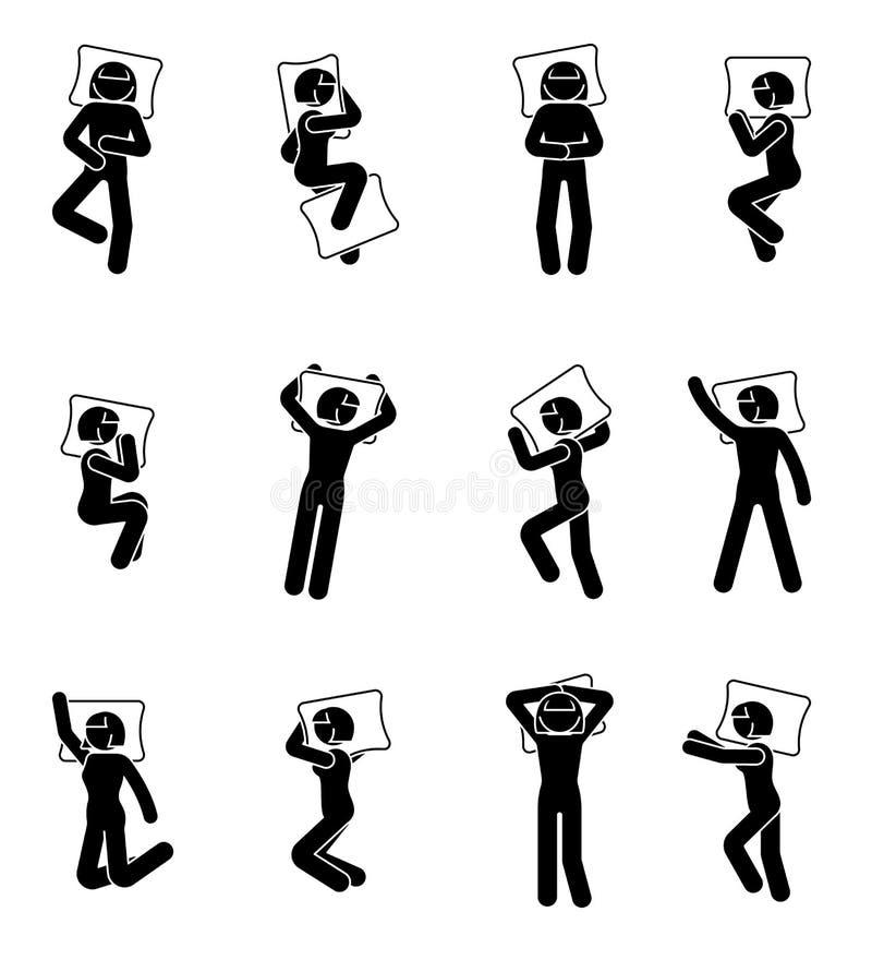 Figura sistema del palillo del icono el dormir de la mujer Las posiciones deferentes escogen a la hembra en pictograma de la cama stock de ilustración