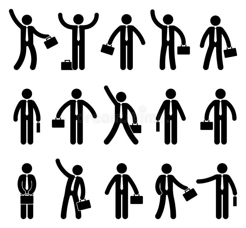 Figura sistema del palillo del icono del hombre de negocios Oficinista que se coloca con la cartera en diversas actitudes libre illustration