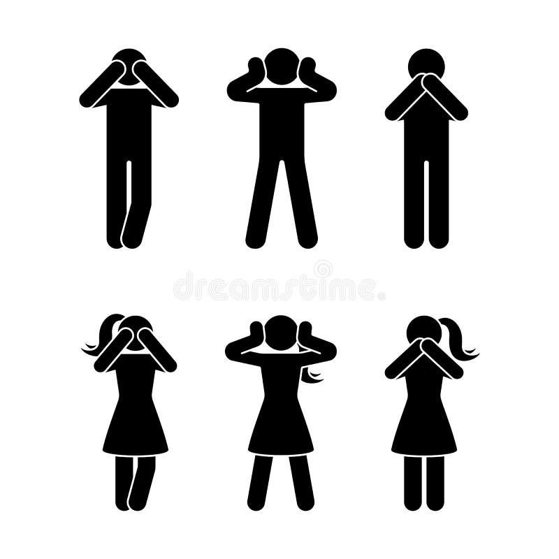 Figura sistema del palillo del pictograma sabio de tres monos No vea ningún mal, no oiga ningún mal, no hable ningún icono malvad ilustración del vector