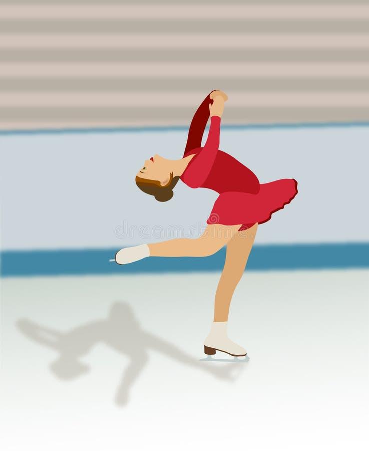Figura Skater No Vestido Vermelho Fotografia de Stock Royalty Free