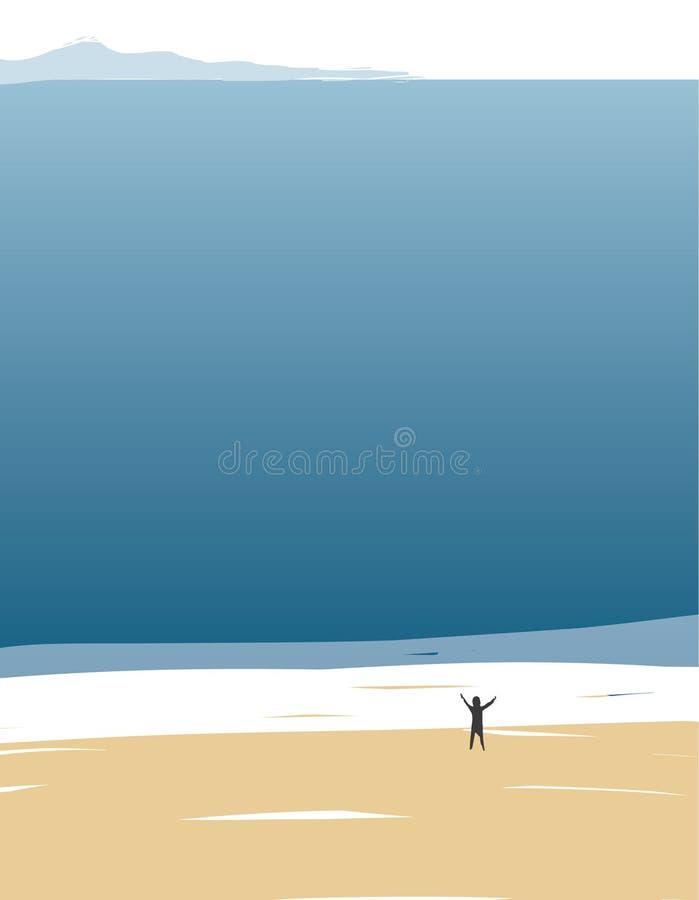 Figura sola de un hombre con sus manos aumentadas para arriba contra la perspectiva del océano ilimitado ilustración del vector