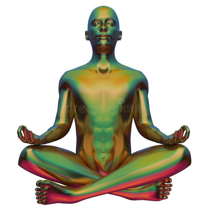 Figura stilizzata metallico variopinto giallo di posa del loto dell'uomo di yoga di verde illustrazione vettoriale