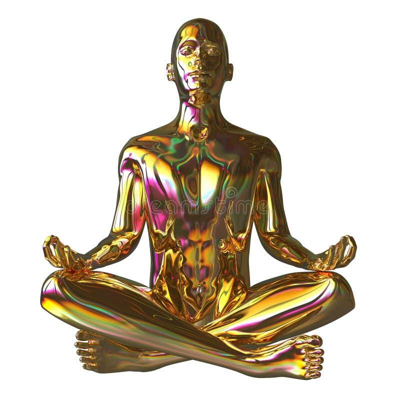 Figura stilizzata scintillare dell'uomo di posa dorata del loto lucido royalty illustrazione gratis