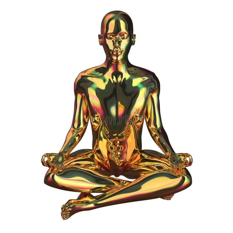 Figura stilizzata scintillare dell'uomo dorato di posa del loto lucido royalty illustrazione gratis
