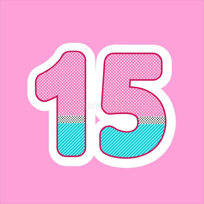 Figura sveglia, numero per il compleanno dei bambini, festa nella bambola di grassa risata di stile modello di pois e vettore del illustrazione di stock