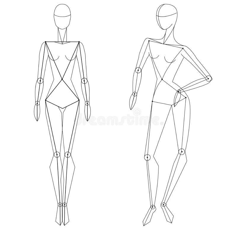 Figura técnica estática da mulher do vetor e dentro ilustração royalty free
