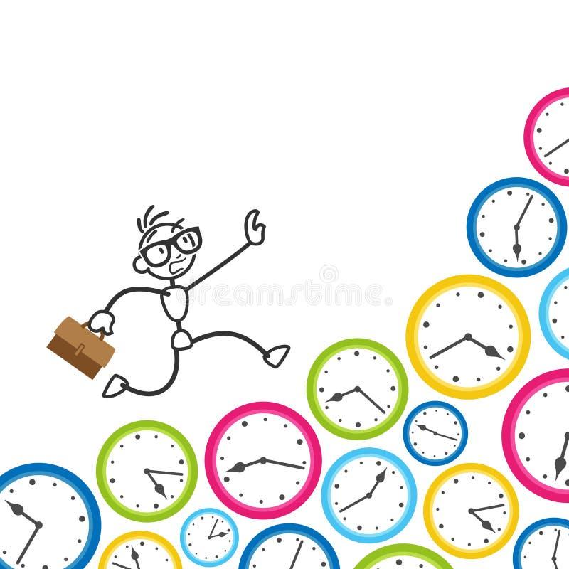 Figura termine del bastone di Stickman dell'orologio della gestione di tempo royalty illustrazione gratis