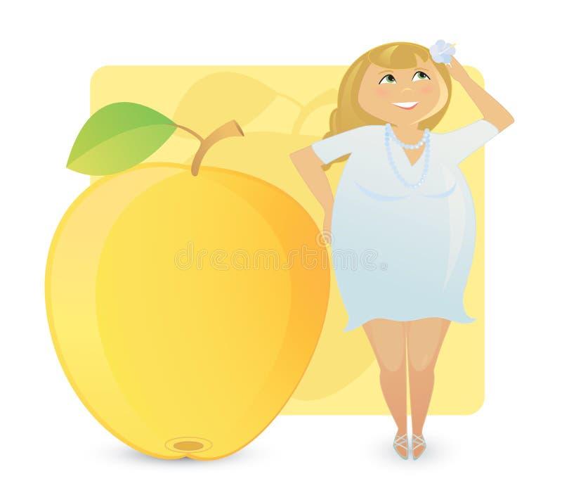 Figura tipos das mulheres: maçã suculenta fotografia de stock