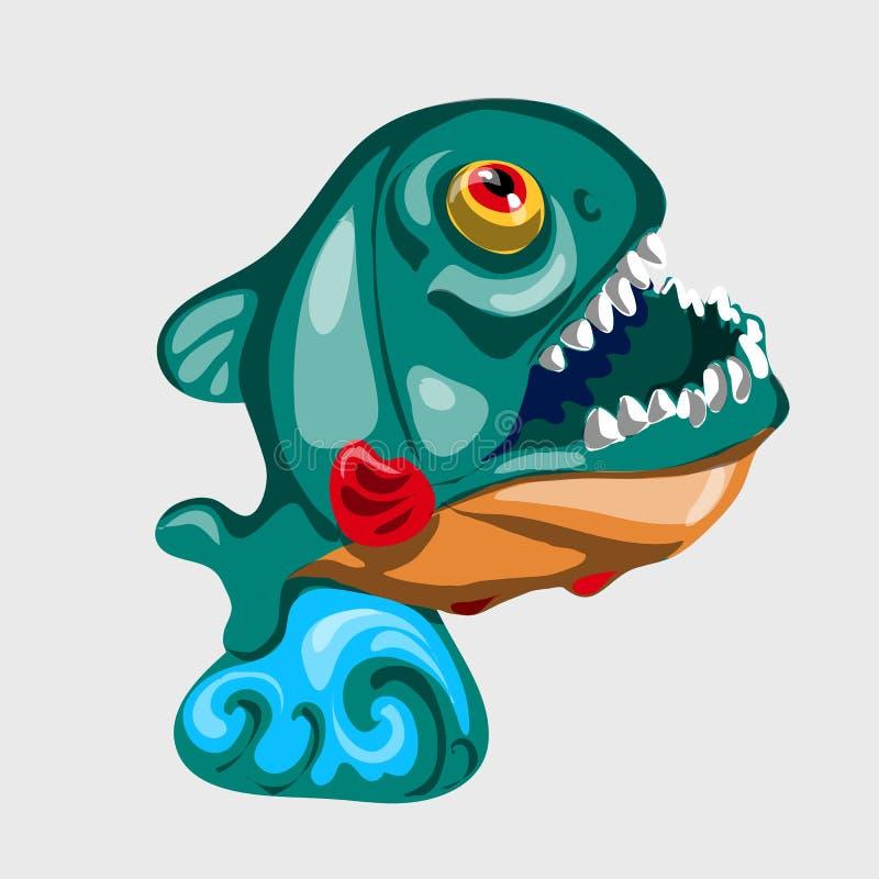 Figura Toothy tubarão com boca aberta ilustração royalty free