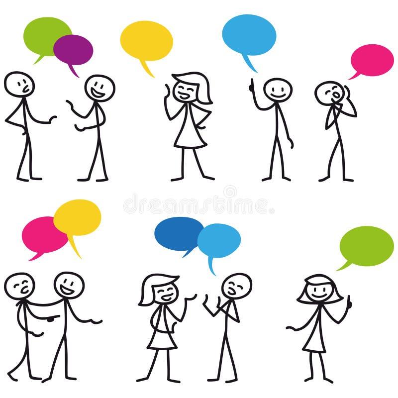 Figura uma comunicação da vara do homem da vara da conversação