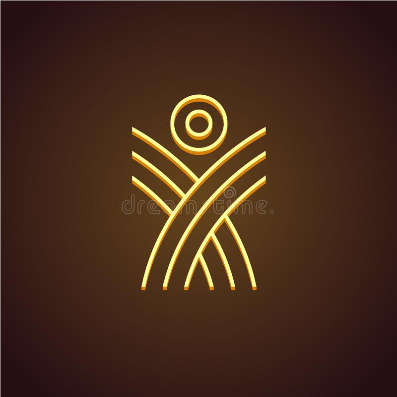 Figura umana logo lineare illustrazione di stock