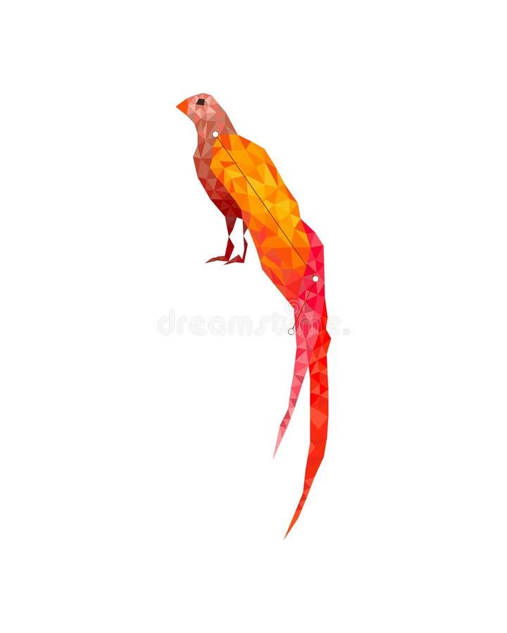 Figura variopinta arte dell'uccello tropicale lowpoly nello stile su fondo bianco illustrazione di stock