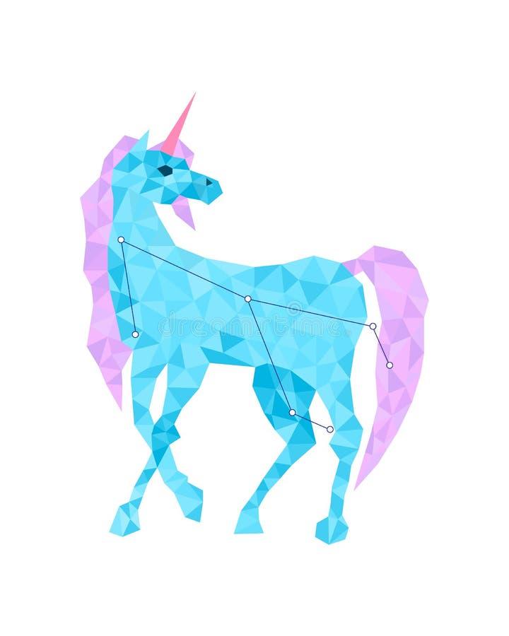 Figura variopinta arte dell'unicorno blu nello stile geometrico su fondo bianco illustrazione vettoriale