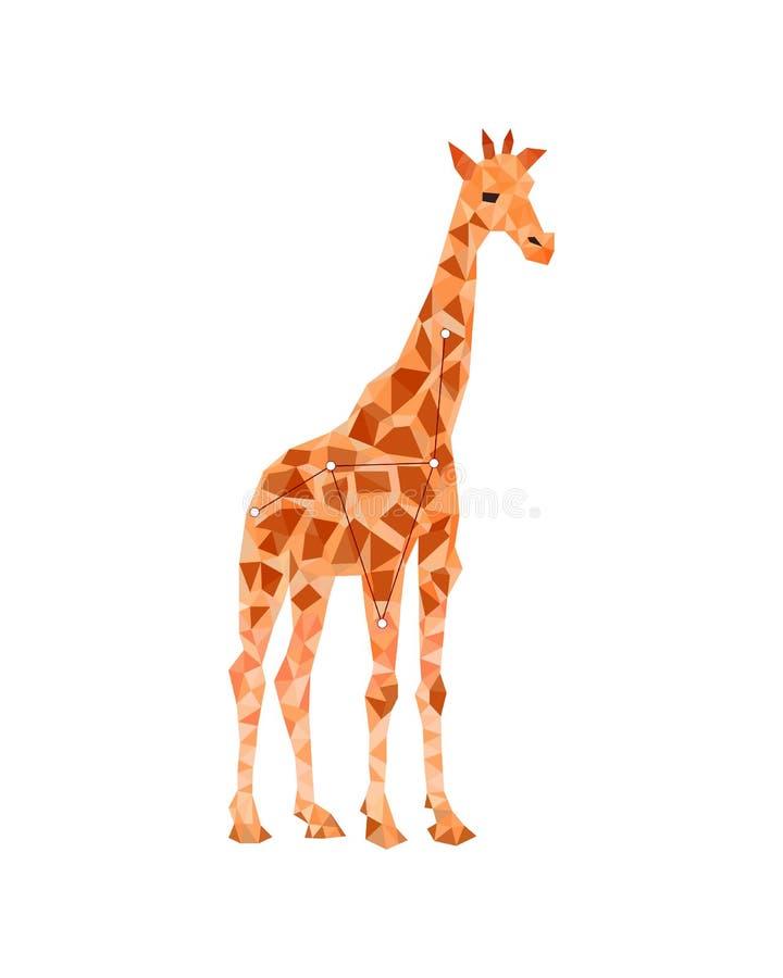 Figura variopinta arte della giraffa lowpoly nello stile su fondo bianco illustrazione vettoriale
