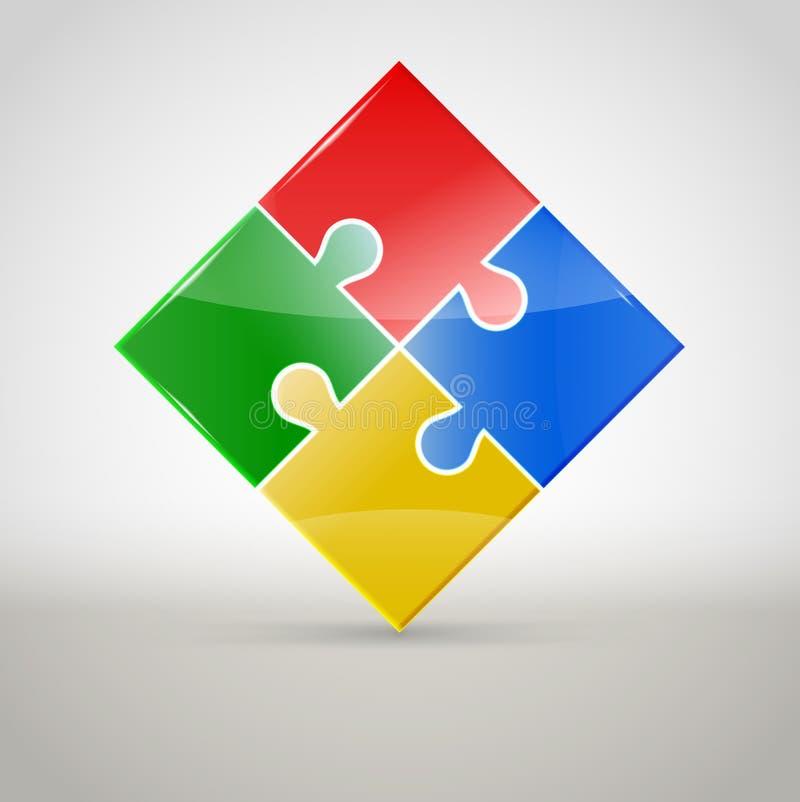 Figura variopinta astratta di puzzle illustrazione di stock