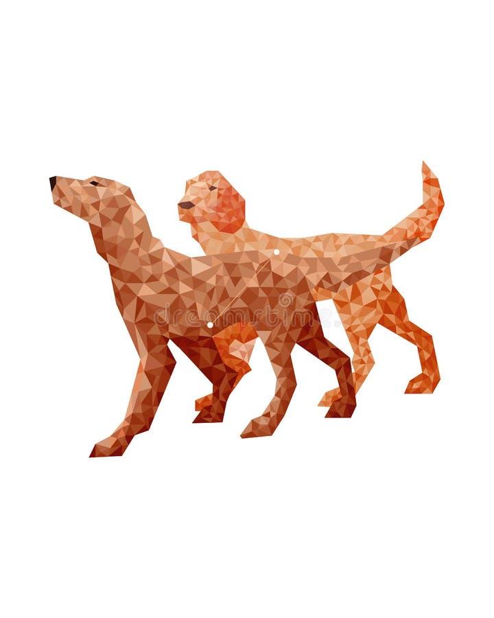 Figura variopinta geometrica arte dei cani arancio nello stile poligonale su fondo bianco illustrazione vettoriale