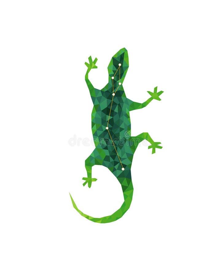 Figura variopinta geometrica arte della lucertola verde nello stile poligonale su fondo bianco illustrazione di stock