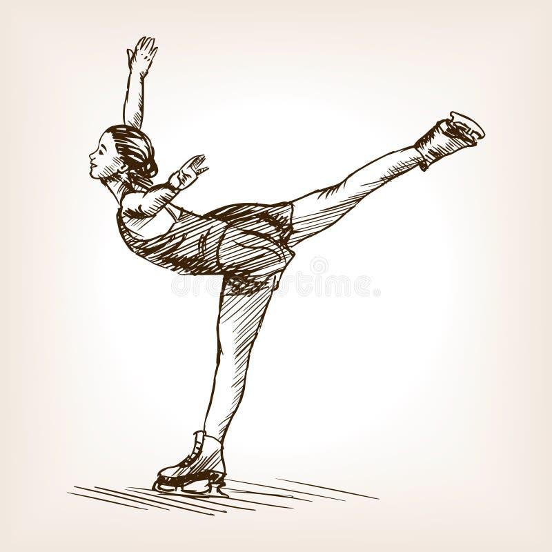 Figura vector del bosquejo de la muchacha del patinador ilustración del vector