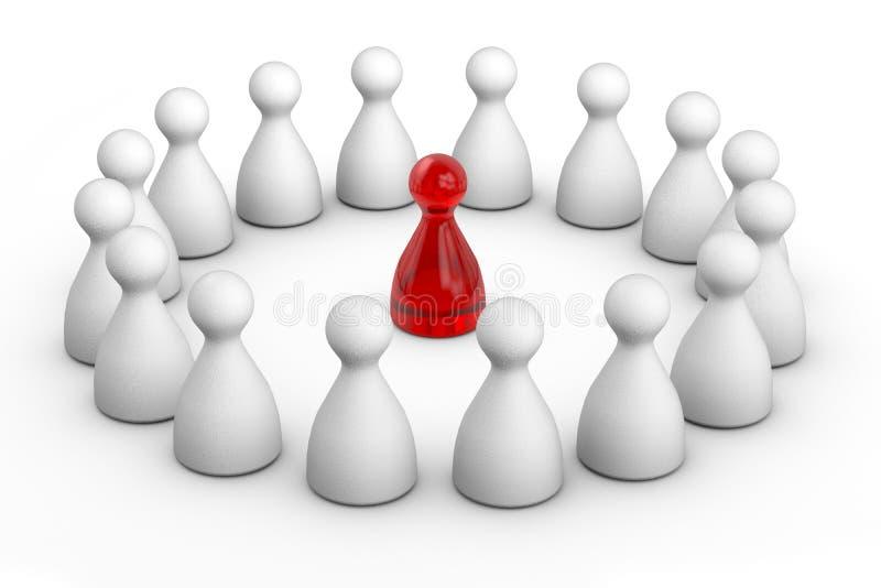 Figura vermelha do líder no círculo ilustração stock