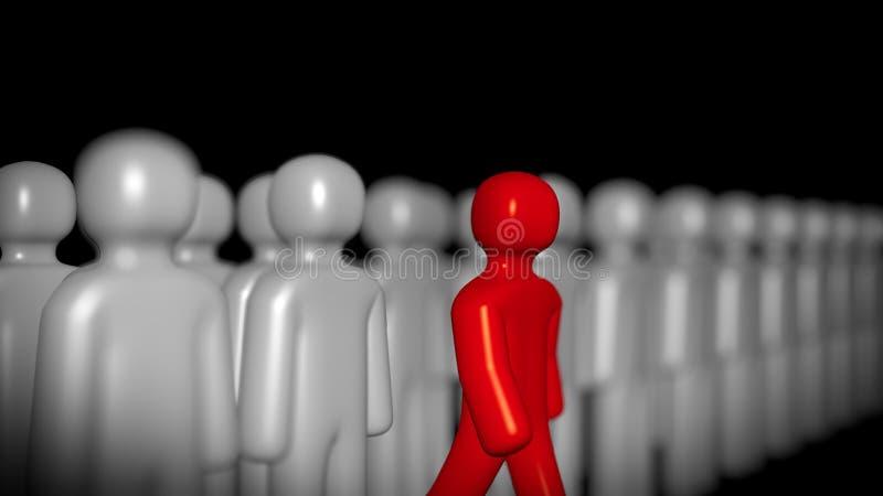 Figura vermelha que pisa para a frente, ao contrário de Grey Ones rendição 3d ilustração do vetor