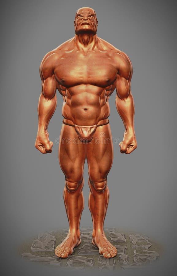 Figura vista dianteira do homem do músculo ilustração royalty free