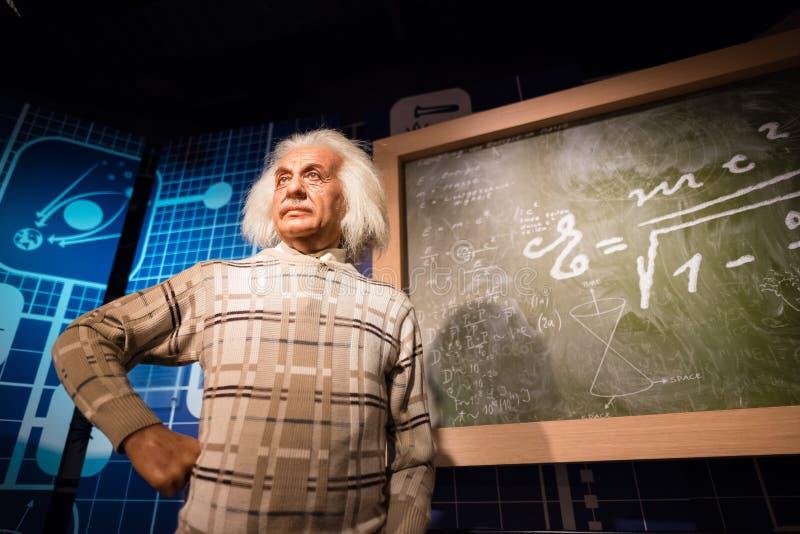 Figura woskowa Albert Einstein na pokazie zdjęcie stock
