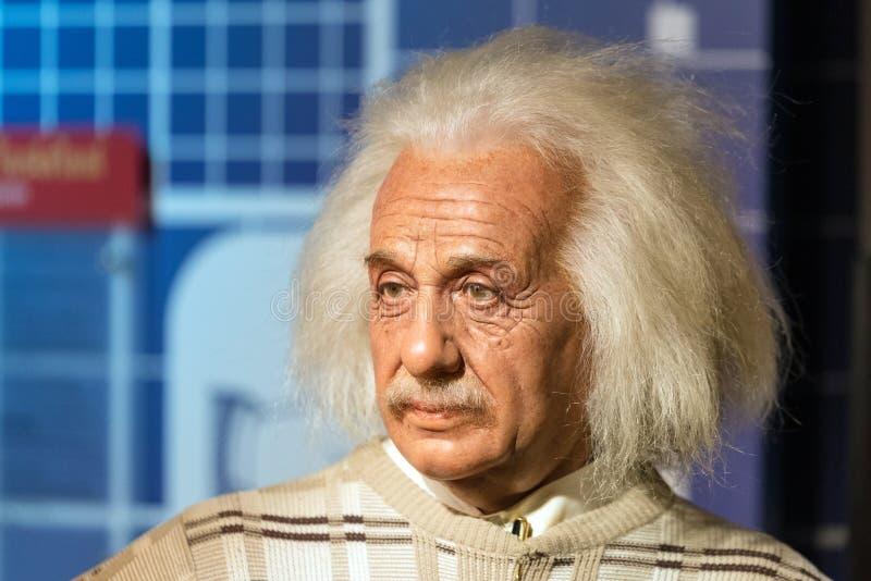 Figura woskowa Albert Einstein na pokazie przy Madame Tussauds na Styczniu 29, 2016 w Bangkok, Tajlandia zdjęcia stock