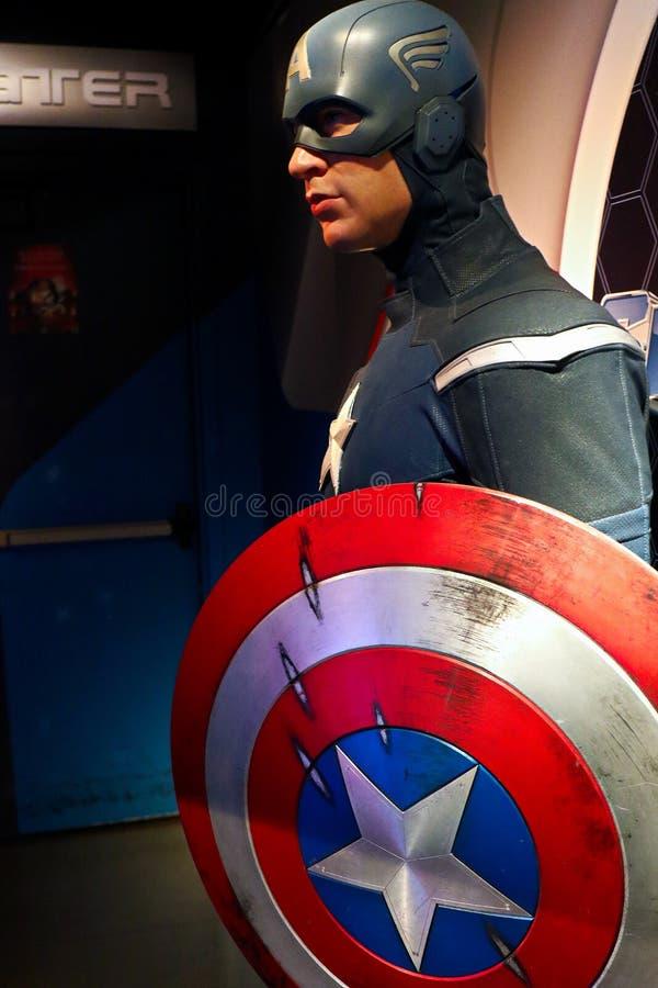 Figura woskowa kapitan Ameryka na pokazie przy Madame Tussaud's zdjęcie royalty free