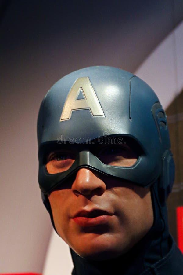 Figura woskowa kapitan Ameryka na pokazie przy Madame Tussaud's obrazy stock