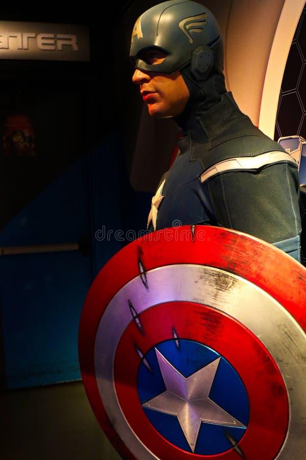 Figura woskowa kapitan Ameryka na pokazie przy Madame Tussaud's obraz royalty free