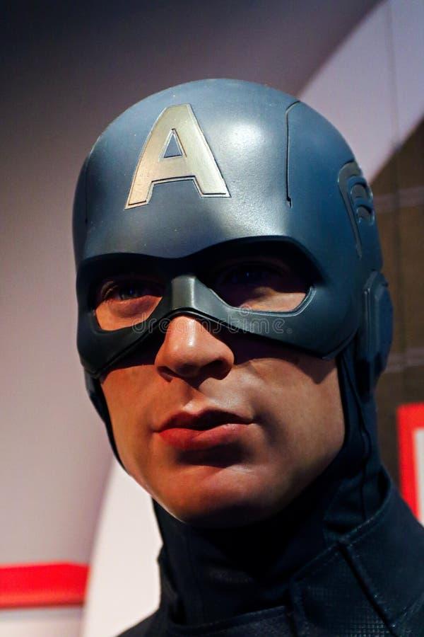 Figura woskowa kapitan Ameryka na pokazie przy Madame Tussaud's obraz stock