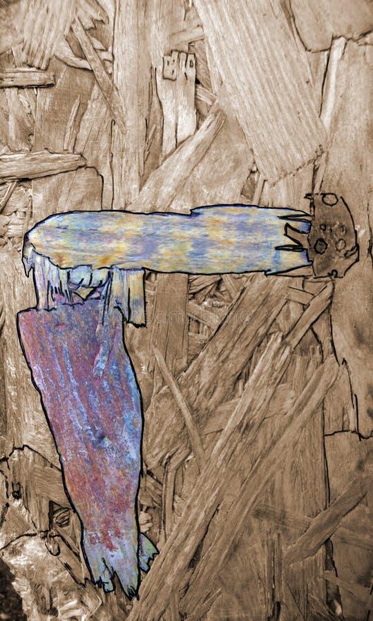 Figuras abstratas em uma placa de madeira, que estavam já atuais na madeira e são destacadas na cor e fotografia de stock royalty free