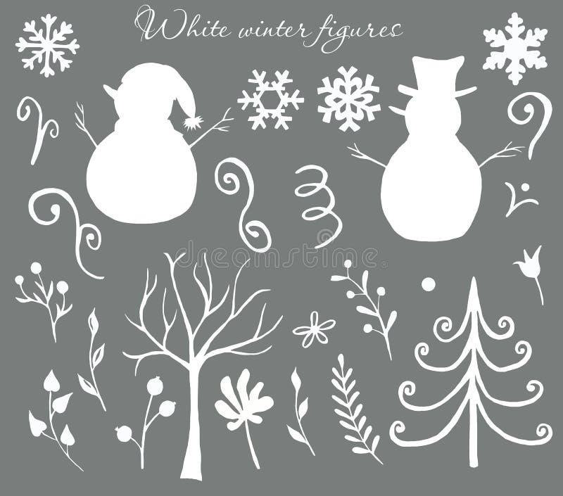 Figuras brancas e de prata do Natal do inverno dos bonecos de neve, árvores, folhas, bagas, gelados ilustração stock