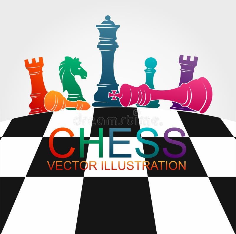 Figuras coloridas deporte del ajedrez del ejemplo del vector del juego de torneo de los pedazos fotografía de archivo