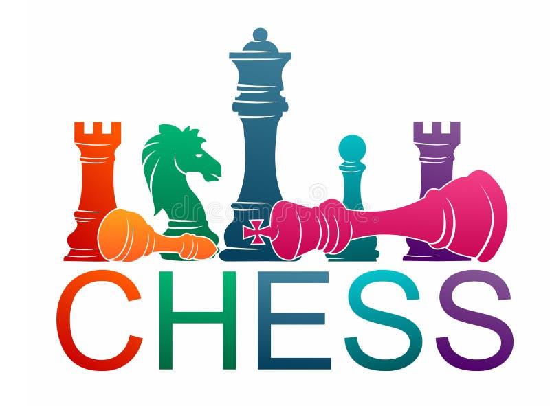 Figuras coloridas deporte del ajedrez del ejemplo del vector del juego de torneo de los pedazos imagenes de archivo