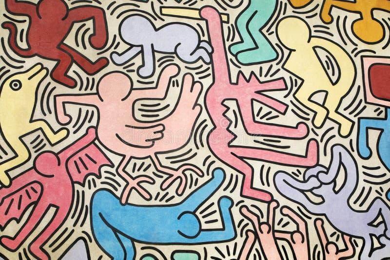Figuras coloridos pintadas por Keith Haring, horizontal fotos de stock