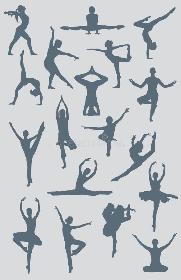 Figuras da ioga do bailado da dança ilustração royalty free