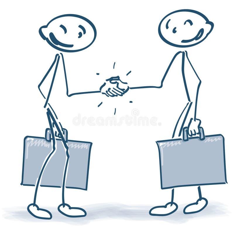 Figuras da vara com malas de viagem ao agitar as mãos ilustração royalty free