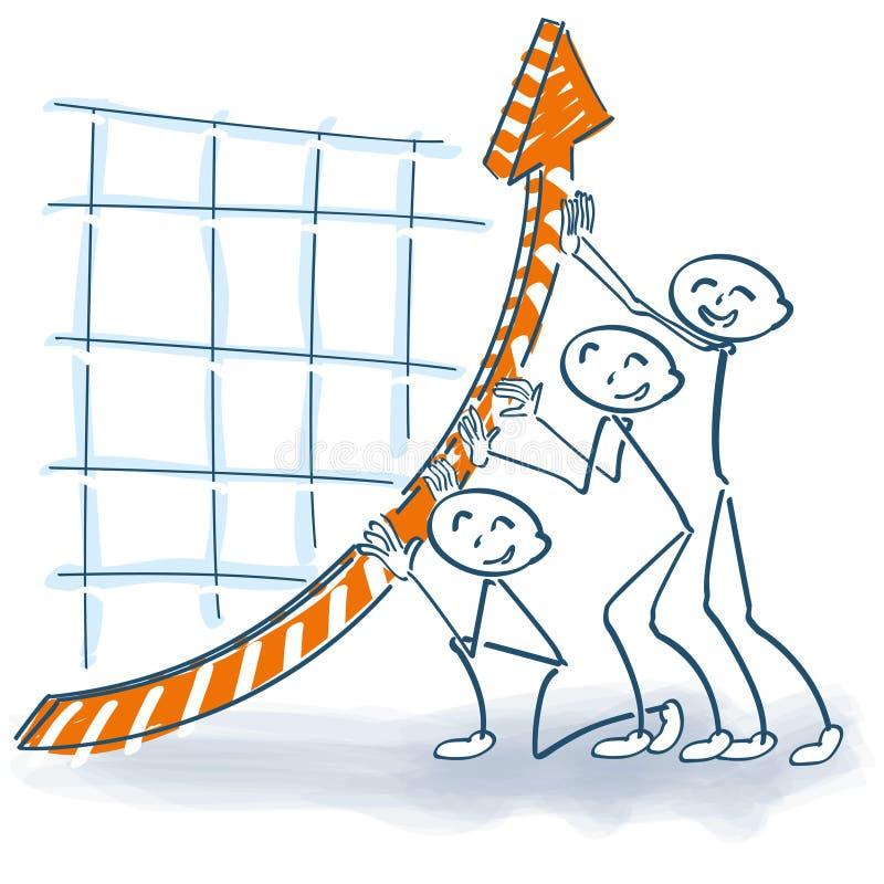Figuras da vara que levantam as vendas ilustração do vetor