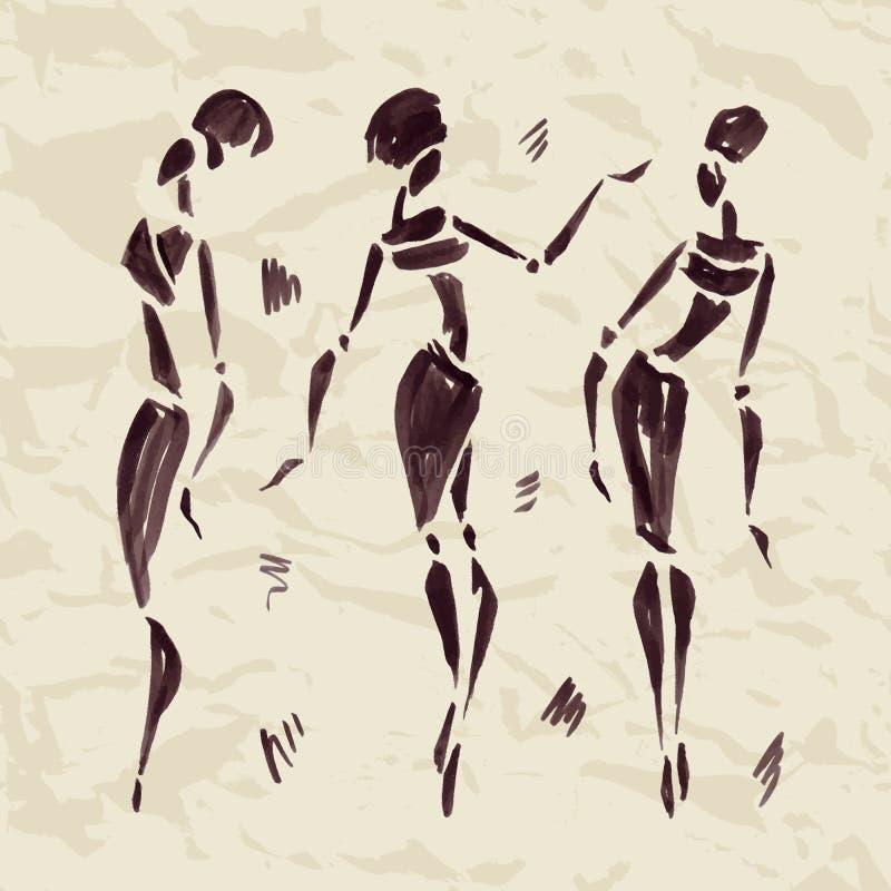 Figuras de bailarines africanos Mano drenada ilustración del vector