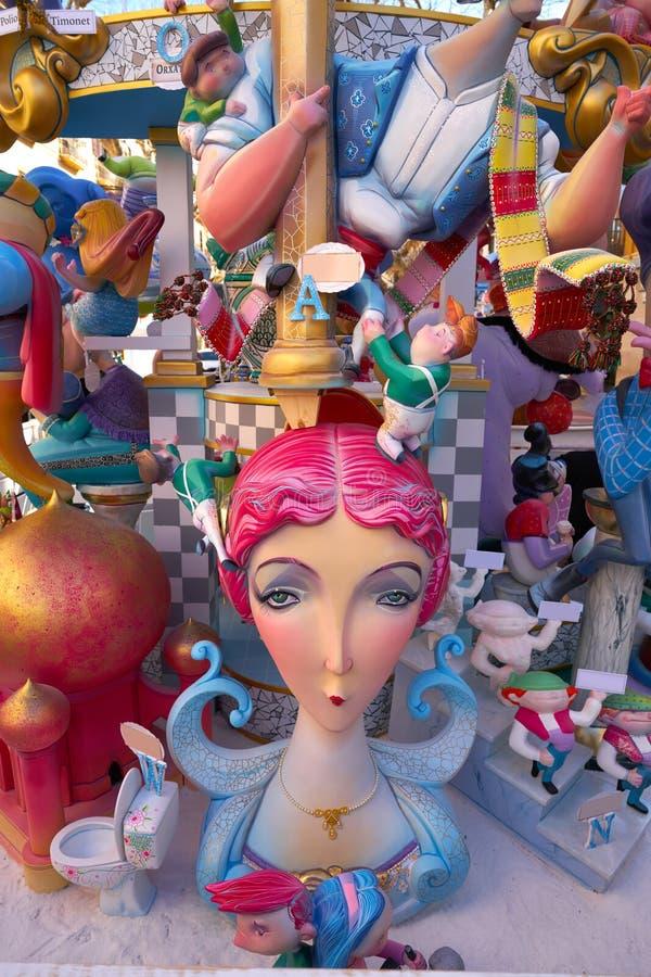 Figuras de Fallas na Espanha popular do fest de Valência foto de stock royalty free