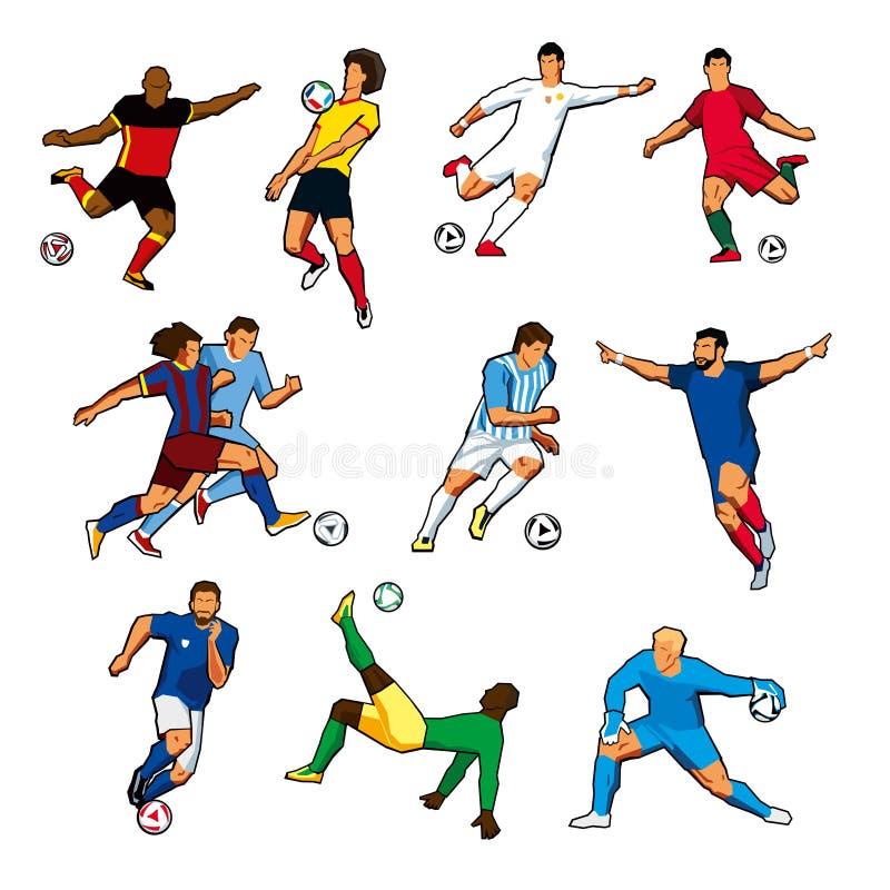 Figuras de jogadores de futebol diferentes de equipas de futebol diferentes Gráficos de vetor da cor Isolado ilustração royalty free