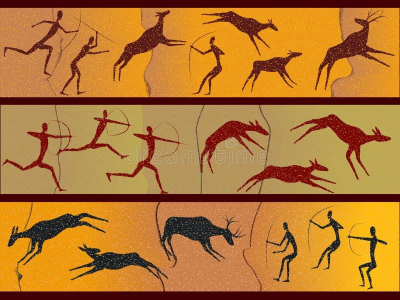 Figuras de la cueva del peopl primitivo stock de ilustración