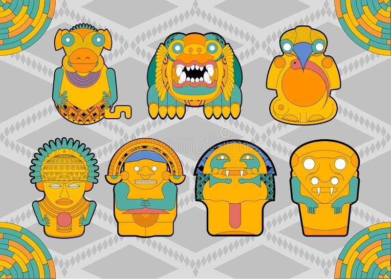 Figuras de la gente y de los animales de las tribus Suramérica libre illustration