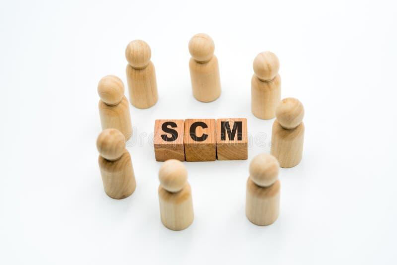 Figuras de madeira como a equipe do negócio no círculo em torno do gerenciamento da cadeia de suprimentos de SCM do acrônimo imagem de stock royalty free