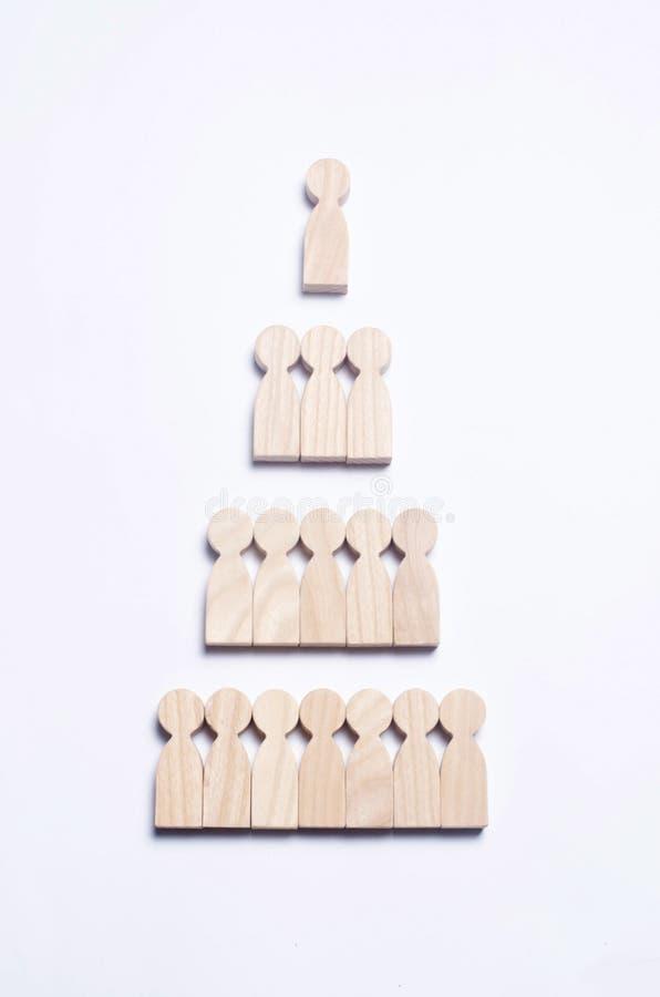 Figuras de madera de la gente en un fondo blanco bajo la forma de a imagen de archivo